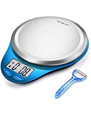 CAMRY Bilancia da cucina Digitale, Bilancia Elettronica ad Alta Precisione con Display LCD, Funzione di Tara, Acciaio Inossidabile, 5kg/11lb (Deep Blue)