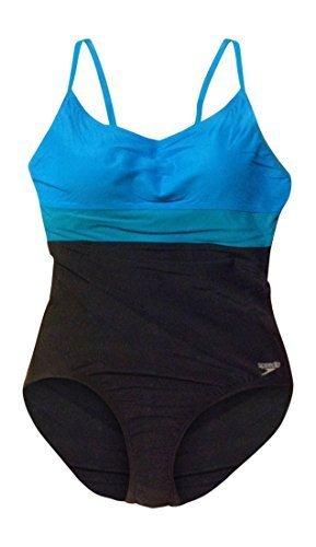 Speedo Women's Color Block Swimsuit 8 Black and Blue - Speedo Block