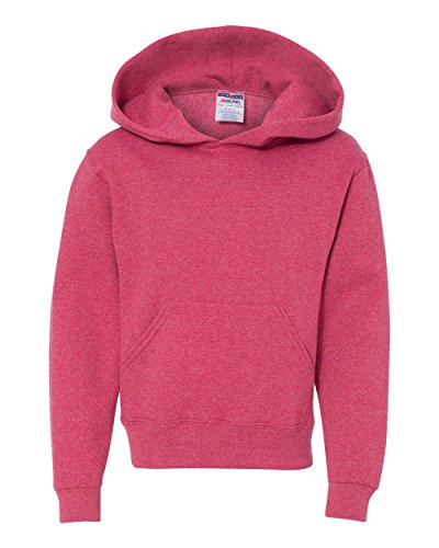 Jerzees Big Boys' Two-ply Hood Fleece Pocket Sweatshirt, Vintage Hthr Red, Large