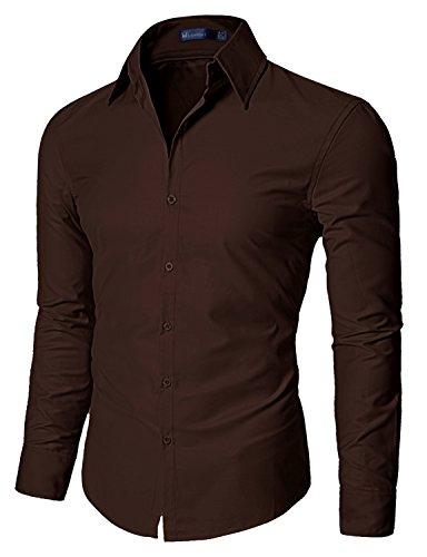 Doublju Mens Dress shirts with Shinning Fabric Darkbrown Small