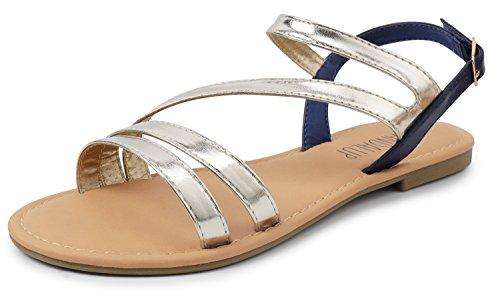 SANDALUP Women's Double Open Toe Band Adjustable Slingback Buckle Flat Sandals Light Golden-Navy 08 ()