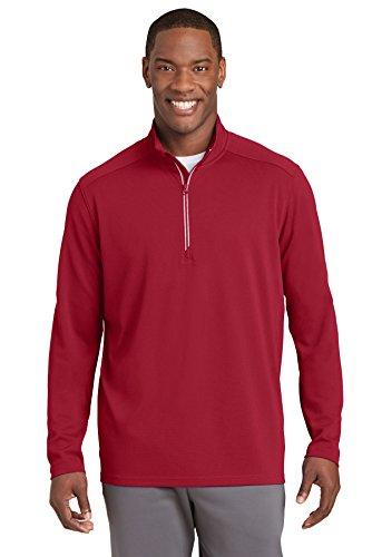 Sport-Tek Mens Sport-Wick Textured 1/4-Zip Pullover (ST860) -DEEP RED -L