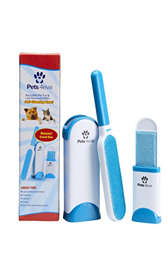 Free Singer Manual (Fur & Lint Remover with Self-Cleaning Base - Double-Sided Brush Removes Pet Hair, Lint from Clothes & Furniture, Travel Size BONUS Included)
