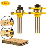 Tongue & Groove Router Bit Set 1/2'' Shank, 2Pcs BHUATO Adjustable 3 Teeth T Shape Wood Milling Cutter Woodworking Tool for Table/Flooring/Door/Cabinets and DIY (1/4'' Height x 1/2'' Depth x 1/2'' Shank)