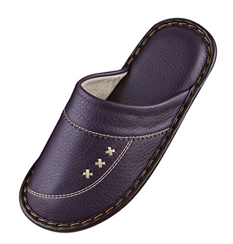Purple Comfy Womens Slippers Leather Slippers Cattior Ladies 5FU4xYqYwB
