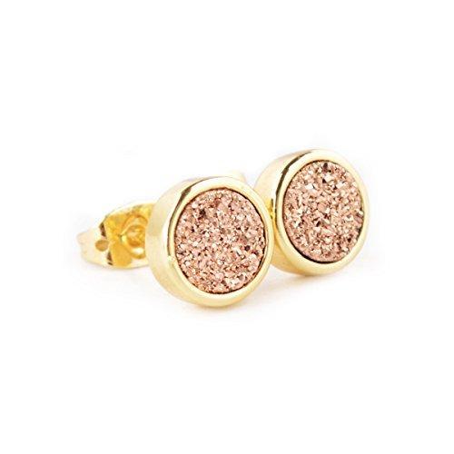 JAB 8mm Rose Golden Natural Agate Titanium Druzy Stud Earrings Gold Plated Copper Druzy (Bezel Golden Earrings)
