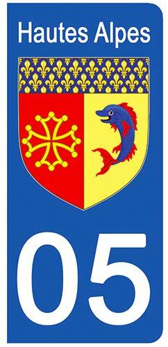 DECO-IDEES Lot de 2 Stickers pour Plaque d'immatriculation - 05 - Blason Hautes Alpes - Ré gion PACA