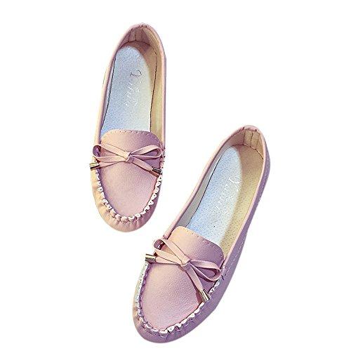 Rawdah Mujeres Flats Zapatos Casual zapatos de mujer se desliza plana plana zapatos de mujer Rosa