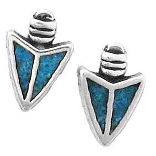 Silver Sterling Blue Turquoise Inlay (Sterling Silver Blue Turquoise Chips Inlay Indian Arrow Head Post Stud Earrings)