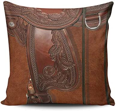 Fanaing Brown Western Leather Look Saddle Tackle Pillowcase Home Sofa  Decorative 18X18 Inch Square Throw Pillow Case Decor Cushion Covers  Double-Sided ...