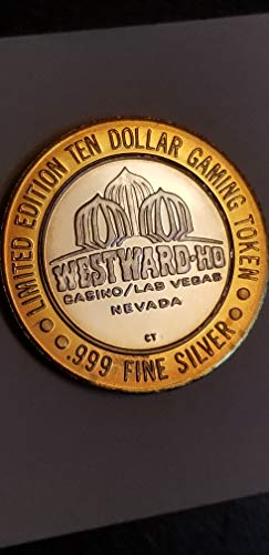 - 1995 $10 LAS VEGAS WESTWARD-HO CASINO LMT. EDITION PROOF GAMING TOKEN-.999 PRE SILVER-VERN'S CARD & COIN $10 Pf