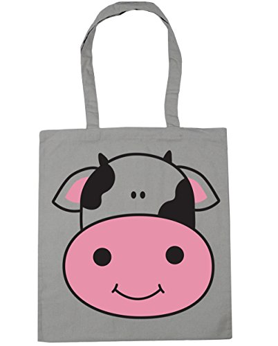 HippoWarehouse Cow Tote Shopping Gym Beach Bag 42cm x38cm, 10 litres Light Grey