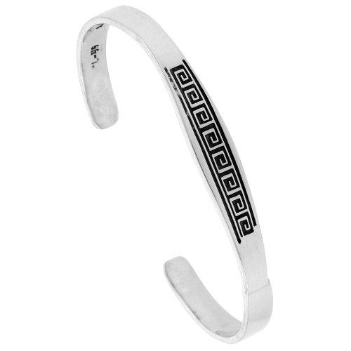 - Sterling Silver Cuff Bracelet Greek Key Motif Handmade 7.25 inch