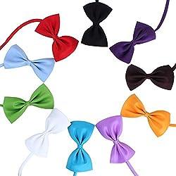 BrookfieldQQCA Pet Dog Bow Tie Dog Bowtie Collar Mix 9 Colores Color sólido Corbatas para Perros Collares Ajustables para Mascotas Accesorios de Aseo para Perros Negro