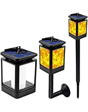 Solar Pathway Lights Iron Lantern Retro Hollow Ground Light LED Outdoor Waterproof Lighting Flame Lamp for Path Landscape Lawn Yard