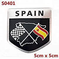 Sellify Spain Flag Bandage Aluminum Sticker Motorcycle Decal Car Styling For Seat Nissan Citroen VW Polo Golf Fiat Renault - (Color Name: S0401)