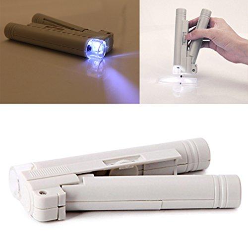 HDE Loupe Magnifier [100x Zoom] Illuminated LED Light Handheld Pocket Microscope