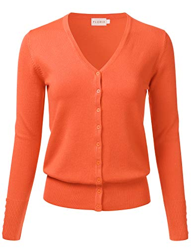 FLORIA Women Button Down V-Neck Long Sleeve Soft Knit Cardigan Sweater Orange S