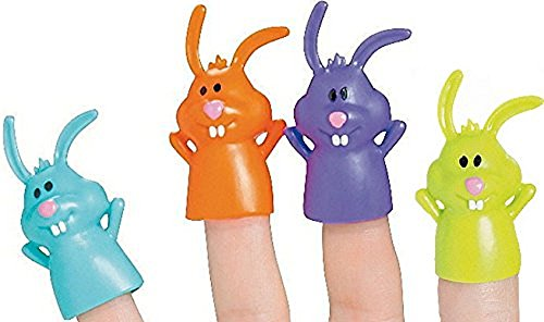 12 ~ Funny Bunny Finger Puppets ~ Approx. 2 Inch Vinyl ~ Assorted Colors ~ New ~ Easter Basket / Egg Hunt Toys