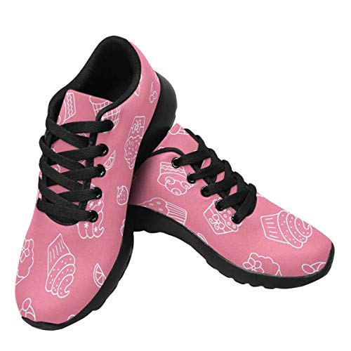 Cupcake Tennis Shoes (INTERESTPRINT Women's Running Shoes - Casual Breathable Athletic Tennis Sneakers Cupcakes and Fruits Pattern)