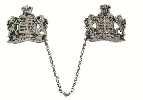 Silver Plated Ten Commandments and Lions Tallit - Tallit Star Clip