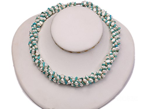 JYX Pearl Triple Strand Necklace 5-6mm Natural White Flat Freshwater Pearl with Turquoise Chips ()