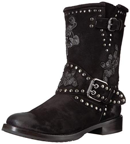 FRYE Women's Nat Flower Engineer Boot, Black, 10 M US by FRYE
