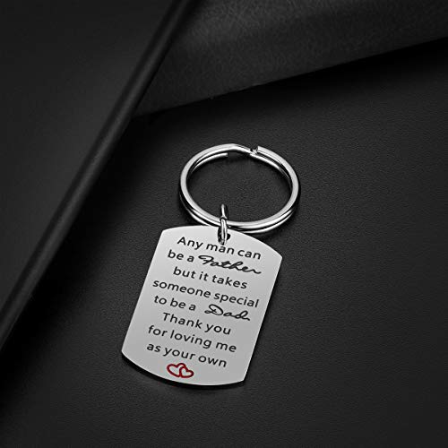 Step Dad Keychain Father's Day Gifts - Step Dad Gifts from Daughter Son, Thank You for Loving Me as Your Own Stepdad Gifts for Christmas Birthday Valentine's Day Photo #6