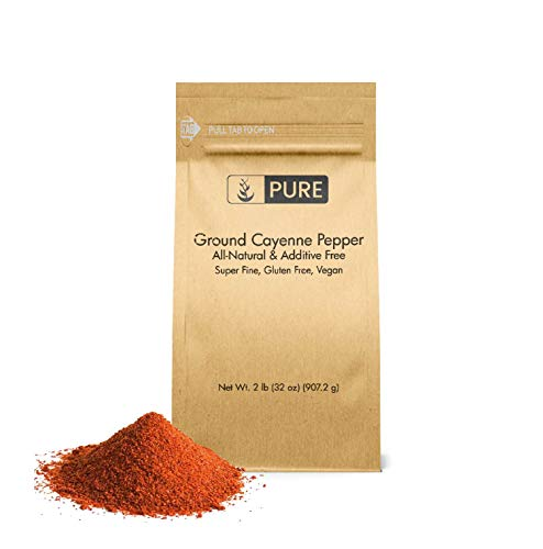 Ground Cayenne (Red) Pepper (2 lb) by Pure Organic Ingredients, Gluten Free, Vegan, Used in Hot Sauces & Spicy Food, Eco-Friendly Packaging