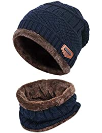 Supstar Kids Winter Warm Hat Circle Scarf 2Pcs Knitted Hat with Soft Fleece Lined Beanie Slouchy Skull Cap for Boys Girls (Blue)