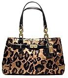 Coach Limited Edition Ocelot Leopard Animal Print Sateen Jayden Satchel Bag Purse Brown