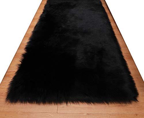 HUAHOO Faux Fur Sheepskin Rug Black Kids Carpet Soft Faux Sheepskin Chair Cover Home Décor Accent for a Kid's Room,Childrens Bedroom, Nursery, Living Room or Bath. 2' x 3' Rectangle