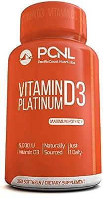 PacificCoast NutriLabs 5000 IU Vitamin D3 Supplement, (Cholecalciferol), Pure, Free Ebook, 360 Count, Mini Softgels, 1-Year Supply