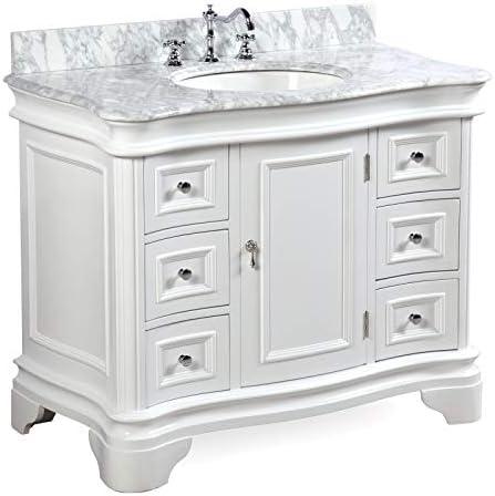 Katherine 42-inch Bathroom Vanity Carrara/White : Includes White Cabinet