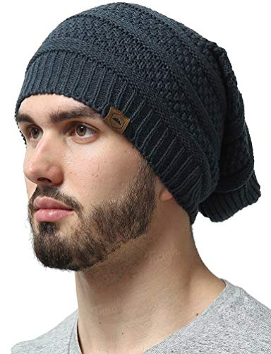 18f053957ce0de Slouchy Cable Knit Beanie - Chunky, Oversized Slouch Beanie Hats for Men &  Women -