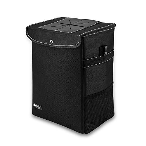 ROYAMY Car Trash Can with Lid,Car Trash Bag Hanging with Storage Pockets-Collapsible and Portable Car Garbage Can-100% Leak-Proof Vinyl Inside Lining (2.65 gal) - Grocery Trash Can Bag