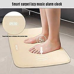 AMEOY Soft Carpet Alarm Clock LED Smart Digital Display Pressure Sensitive Area Rug 40x40cm for Home Bedroom Creative Carpet