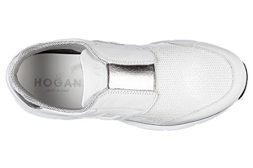 Hogan slip on femme en cuir sneakers h254 traditional blanc