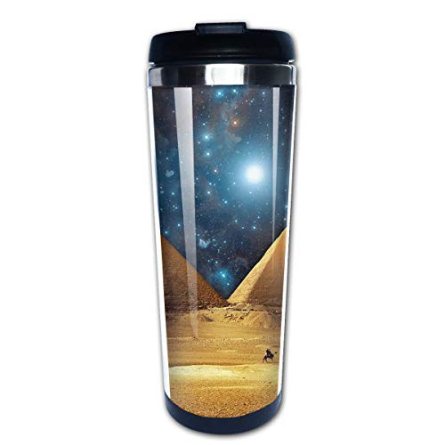 Pyramid Water Bottle - Markui Travel Coffee Mug Pyramids of Egypt Stainless Steel Insulated Coffee Cup Sport Water Bottle 13.5 Oz