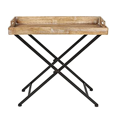 Kate and Laurel Marmora Metal Tray Table with Removable Wood Tray Top