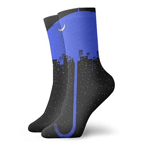 SARA NELL Novelty Funny Crazy Crew Sock New York City Rain Night Blue Umbrella Art 3D Printed Winter Sport Athletic Socks 30cm Long Personalized Gift Socks ()
