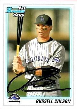 2010 Bowman Draft Picks Prospects #BDPP47 Russell Wilson First Bowman Baseball Card - Seahawks QB