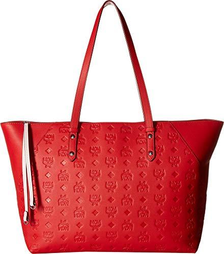 Zip Top Shopper - MCM Womens Klara Monogrammed Leather Charm Top Zip Shopper Medium Viva Red One Size