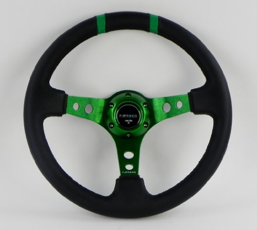 NRG Steering Wheel - 16 (Deep Dish) - 350mm (13.78 inches) - Black Leather with Green Spokes / Green Double Center Markings - Part # ST-016R-GN (Black Leather Green Stripe)