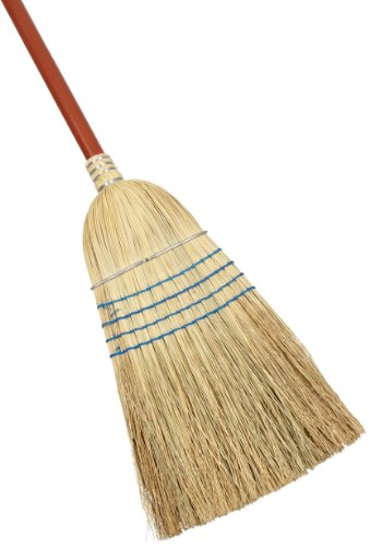 Rubbermaid Commercial Warehouse Heavy-Duty Corn Broom, 1 1/8 Inch Wood Handle, Blue (FG638300BLUE)