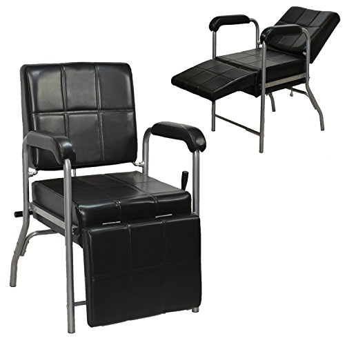 LCL Beauty Black Deluxe Reclining Shampoo Chair with Legrest by LCL Beauty
