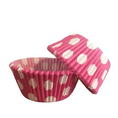 Bakell 25 PC Set of Standard Sized Cupcake Muffin Liners/Wrappers with Polka Dots: Pink and White Quality Baking Paper Cups Tools Pan kit -
