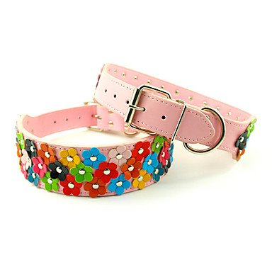 Quick shopping Adjustable PU Leather Small Flower Decorated Collar for Pets Dogs (Assorted colors, Sizes) , Pink , XL