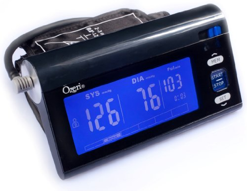 Ozeri CardioTech BP3T Upper Arm Blood Pressure Monitor With Intelligent Hypertension Detection, Black