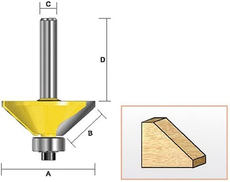 3//4-Inch cutting Length by 45D Kempston Corporation 1-5//8-Inch Cutting Diameter 1//2-Inch Shank Kempston 306441 Chamfer Bit